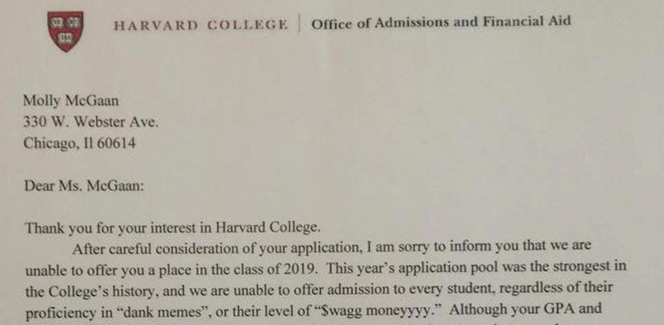 harvard rejection letter student faux harvard rejection letter gets real one 1277
